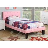 Poundex PU Upholstered Platform Bed, Twin, Pink