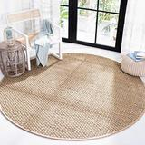 Safavieh Natural Fiber Collection NF114A Border Basketweave Seagrass Area Rug, 8' x 8' Round, Beige