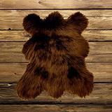 """Faux Fur Area Accent Throw Rug, Shaggy, Shag, Mini Mountain Bear Skin Pelt, White Black or Brown, Cute, Soft, Hand Made, Small, 18""""x24"""" USA (Grizzly Bear Brown)"""