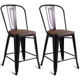 COSTWAY Set of 2 Tolix Style Metal Dining Chairs Copper with Wood Seat Stackable Industrial Counter Stool Cafe Side Chairs