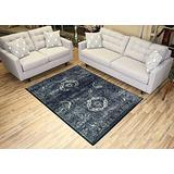 Studio Collection Vintage French Aubusson Design Contemporary Modern Area Rug Rugs 3 Options (Aubusson Navy Blue, 5 x 7)