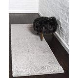 Unique Loom Serenity Solid Shag Collection Super Soft Micro Polyester Light Gray Runner Rug (2' 0 x 6' 7)