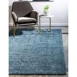 Unique Loom Serenity Solid Shag Collection Super Soft Micro Polyester Slate Blue Area Rug (8' 0 x 10' 0)