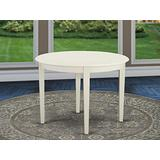 East West Furniture Boston Table-Linen White Table Top Surface and Linen White Finish Tapered 4 Legs Hardwood Frame Dining Room Table