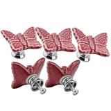 Ltvystore Pink Cute Butterfly Porcelain Ceramic Knobs/Pull/Handle for Door Kitchen Cabinet Cupboard Chest Dressers Baby Kid's Children's Furniture-5Pack