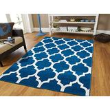 Luxury Morrocan Trellis Rugs Blue and White Rugs with Lines Blues Rugs for Dining Room 8x10 Soft Rugs for Bedrooms Large Rugs for Living Room Cheap, Large 8x11 Rug
