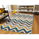 Zigzag Style Large Area Rugs 8x11 Clearance Under 100 Blue Brown Cream Yellow Grey Best Rugs for Dogs 8x11 Area Rugs Clearance Indoor and Outdoor Carpet, 8x11 Rugs