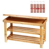 Ollieroo 2 Tier Natural Bamboo Shoe Rack Organizer and Foot Stool with Storage Drawer on Top - 5pcs Cedar Hang Ups