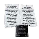 Wedding Tokens Mother of The Bride and Father of The Bride Wedding Handkerchief Set Embroidered