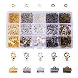PandaHall Elite About 1425 Pcs Jewelry Finding Kits 5 Colors with 4mm Open Jump Ring, Lobster Claw Clasp and Ribbon Clamp End for Jewelry Making