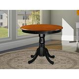 East West Furniture ANT-BLK-TP Beautiful Dining Room Table - Cherry Table Top Surface and Black Finish legs Hardwood Frame Wood Table