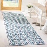 Bungalow Rose Saleem Flatweave Cotton Turquoise/Navy Blue/White Area Rug Cotton in Blue/Brown/Green, Size 96.0 H x 27.0 W x 0.25 D in | Wayfair