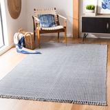 Laurel Foundry Modern Farmhouse® Jodi Handwoven Cotton Navy Area Rug Cotton in Blue/Brown, Size 72.0 H x 72.0 W x 0.25 D in | Wayfair
