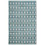Bungalow Rose Saleem Flatweave Cotton Turquoise/Navy Blue/Area Rug Cotton in White, Size 60.0 H x 36.0 W x 0.25 D in | Wayfair BNGL8389 33350059