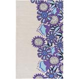 Zoomie Kids Cesar Floral Handmade Tufted Ivory/Bright Purple Area Rug in Blue/Brown/Gray, Size 114.0 H x 90.0 W x 0.31 D in | Wayfair