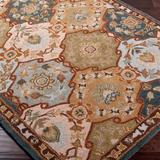 World Menagerie Graziani Ikat Handmade Tufted Wool Brown/Blue Area Rug Wool in Blue/Brown, Size 117.0 W x 0.39 D in   Wayfair WDMG7267 33381994