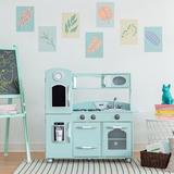 Teamson Kids Wooden Play Kitchen SetManufactured Wood in Green/Blue, Size 36.75 H x 38.25 W x 11.5 D in   Wayfair TD-11414M