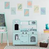 Teamson Kids Wooden Play Kitchen Set Manufactured Wood in Green/Blue, Size 36.75 H x 38.25 W x 11.5 D in | Wayfair TD-11414M