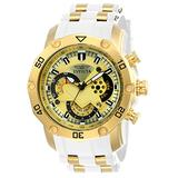 Invicta Men's Pro Diver Scuba 50mm Stainless Steel and Silicone Chronograph Quartz Watch, White/Gold (Model: 23424)