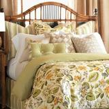 Eastern Accents Stelling Floral Linen Comforter, Finish Type: Button-Tufted, Polyester/Polyfill/Linen in Orange/Green, Size Full Comforter | Wayfair