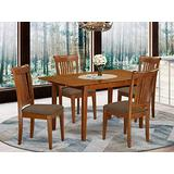 5 Pc small Kitchen Table set Table with Leaf and 4 Dining Chairs
