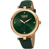 Burgi Women's Accented Rose Dial Green Women's Watch - 4 Diamond Hour Markers with Silver Diamond Dial and Green Leather Strap - BUR151