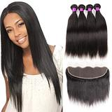 Queen Plus Hair Brazilian Straight Hair Lace Frontal with 3 Bundles 7A Human Hair Extensions Straight Virgin Hair with Frontal Ear to Ear with Baby Hair Human Hair Weave ( 16 16 16 with 14 )