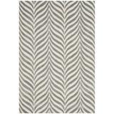 Mercer41 Zandbergen Striped Handmade Tufted Ivory/Gray Area Rug Viscose/Wool in Brown/Gray, Size 120.0 H x 96.0 W x 0.63 D in   Wayfair
