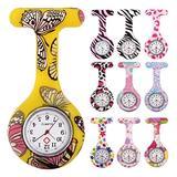 10pcs Floral Nurse Clip-on Fob Brooch Pocket Watch Lapel Watch for Women Girl (Pack #1)