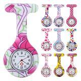 10pcs Floral Nurse Clip-on Fob Brooch Pocket Watch Lapel Watch for Women Girl (Pack #3)