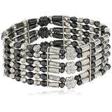 1928 Jewelry Silver-Tone Hematite Color 6-Row Stretch Bracelet