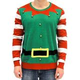 Ugly Christmas Sweater Elf with Bells Adult Green and Red Costume Sweater (Adult 3XL)