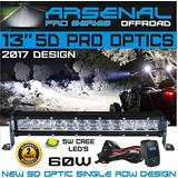 "13"" 5D Projector Pro Optic Single Row Arsenal Light Bar with 5W Cree LED's Super Combo LED Light Bar 60W 4,800 Lumen Off Road Polaris RZR UTV Raptor SxS Bumper Rock FREE LED LIGHT BAR SWITCH KIT"