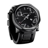 SISU Bravado Q5 Quartz Men's Watch, Black Dial, Rubber Strap (Model: BQ5-50-RB)