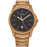 SO&CO New York Men's 5095.5 Madison Quartz Black Square Design Dial Date Luminous Hands 16K Rose Tone Stainless Steel Link Bracelet Watch