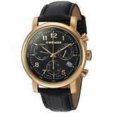 Wenger Men's Urban Classic Chrono Swiss-Quartz Watch with Leather Calfskin Strap, Black, 22 (Model: 01.1043.107)