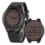 Groomsmen Watches Custom Engraved Wooden Watches for Men Husband Boyfriend Dad Personalized Wedding Anniversary Watch for Him Leather Strap Double-Sided Engraved Ebony Black