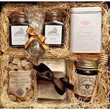 Gourmet Tea Box: White Lion English Tea, White Lion Cranberry Hibiscus Tea, Brown Sugar Cubes, Orange Cardamom Cookies, Orange Blossom Honey, Mint Tea, Rose White Tea, Chamomile, Earl Grey Gift Basket