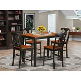 YAKE5-BLK-W 5 PC counter height Table and chair set - high top Table and 4 bar stools with backs.