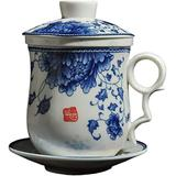 BandTie Convenient Travel Office Loose Leaf Tea Brewing System-Chinese Jingdezhen Blue and White Porcelain Tea Cup Infuser 5-Piece Set with Tea Cup Lid and Saucer,Blue Rattan Flower