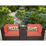 TK Classics BARBADOS-03b-TANGERINE Barbados 3 Piece Outdoor Wicker Patio Furniture Set, Tangerine