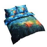 Cliab Kids Full Size 7-Piece Reversible Galaxy Bedding Set Galaxy Duvet Cover Set Nebula Bedding Set Deep Space Bedding Cosmos Galaxy Stars Bedding Set with Blue Sky Print for Kids Boys and Girls