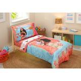 Disney Moana 4 Piece Toddler Bedding Set Polyester in Blue/Pink/Yellow | Wayfair 7309416