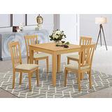 East West Furniture OXAN5-OAK-C 5-Piece Dining Set – 4 Dining Room Chairs and a Wooden Table - Square Table Top – Slatted Back and Linen Fabric Chair Seat (Oak Finish)