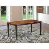 East West Furniture Butterfly Leaf Nicoli Wood Dining Table- Cherry Table Top and Black Finish beautiful 4 Legs Solid wood Frame Farm Dining Table
