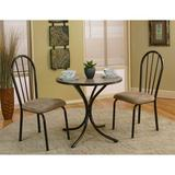 World Menagerie Homole 3 Piece Dining Set Metal/Upholstered Chairs in Black/Brown, Size 28.0 H x 30.0 W x 30.0 D in | Wayfair