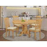 East West Furniture AVAT5-OAK-C 5 Pc Set – 4 Room Chairs with Linen Fabric Seat and Slatted Back-Oval Top and Pedestal Legs Dining Table (Oak Finish), 5-Piece