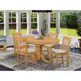East West Furniture AVNO5-OAK-C Dining Table Set, Linen Fabric Seat, Gold