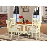 East West FurnitureANPL5-WHI-C Wooden Dining Table Set- 4 Excellent Kitchen Chairs - A Wonderful mid Century Dining Table- Linen Fabric Seat- Cherry and Buttermilk Finish Wood Table