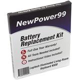 NewPower99 Battery Replacement Kit with Battery, Video Instructions and Tools for Logitech Illuminated Living-Room Keyboard K830